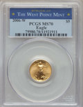 Modern Bullion Coins, 2006-W $5 Tenth-Ounce Gold Eagle, Burnished, Struck at West Point Mint, MS70 PCGS. PCGS Population: (1169). NGC Census: (56...