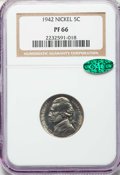 Proof Jefferson Nickels, 1942 5C Type One PR66 NGC. CAC. NGC Census: (851/327). PCGS Population: (1636/496). CDN: $75 Whsle. Bid for problem-free NG...