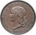 Colombia, Colombia: Republic copper Pattern 16 Pesos 1847-BOGOTA MS62 Brown NGC,...