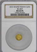 California Fractional Gold, 1872/1 25C Indian Round 25 Cents, BG-869, Low R.4, MS64 ProoflikeNGC....