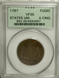 Colonials, 1787 1C Fugio Cent, STATES UNITED, Cinquefoils VF35 PCGS....