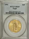 1991 G$25 Half-Ounce Gold Eagle MS69 PCGS....(PCGS# 9852)