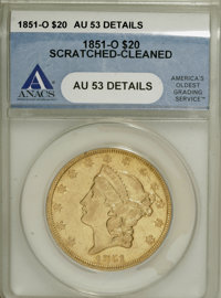 1851-O $20 --Scratched, Cleaned--ANACS. AU53 Details....(PCGS# 8905)