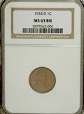 Lincoln Cents, 1924-D 1C MS63 Brown NGC....