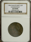 Colonials, 1786 COPPER Connecticut Copper, Mailed Bust Left XF40 NGC....