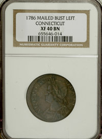 1786 COPPER Connecticut Copper, Mailed Bust Left XF40 NGC....(PCGS# 331)