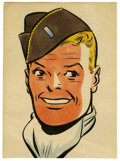 Original Comic Art:Miscellaneous, Milton Caniff - Hand-Colored Steve Canyon Print with AutographedLetter (undated).... (Total: 2 Items)