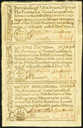 Colonial Notes:North Carolina, North Carolina December, 1771 2s6d House-£1-10s Uncut VerticalStrip of Three Choice New.. ...