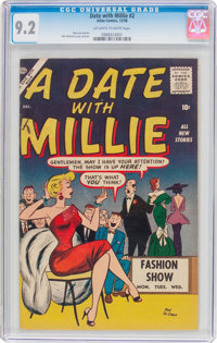A Date With Millie #2 (Atlas, 1956) CGC NM- 9.2 Off-white to white pages