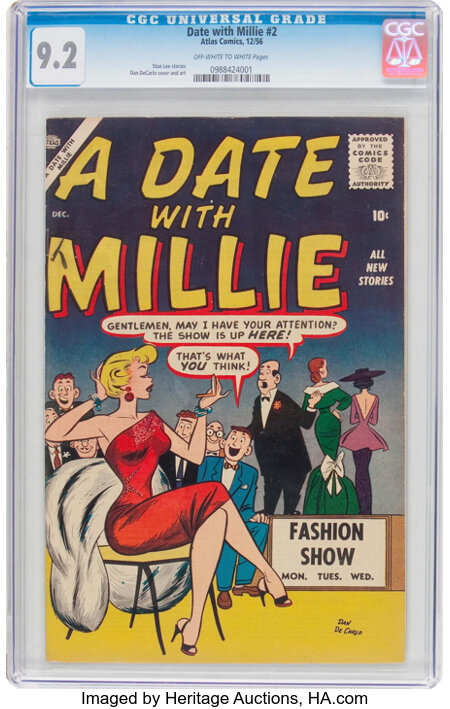A Date With Millie #2 (Atlas, 1956) CGC NM- 9.2 Off-white to white pages....