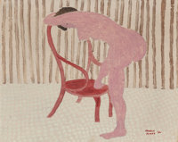March Avery (American, b. 1935) Nude with Chair, 1962 Oil on canvas 16 x 20 inches (40.6 x 50.8 c