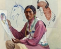 Fine Art - Painting, American, Albert Herman Schmidt (American, 1883-1957). Tesuque Indian.Oil on canvas. 30 x 38 inches (76.2 x 96.5 cm). Signed and ...
