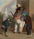 Fine Art - Painting, American:Antique  (Pre 1900), W. P. Wilson (19th Century). Mr. Trunk and his Advisors -- HisFriends, Old Mr. Parrot and Mr. Starling, 1862. Oil on ca...