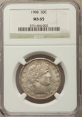 Barber Half Dollars: , 1908 50C MS65 NGC. NGC Census: (12/4). PCGS Population: (13/11). MS65. Mintage 1,354,545. ...