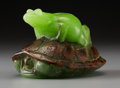 Art Glass:Other , Almeric Walter Pate-de-Verre Frog and Turtle (Grenouille etTortue) Paperweight by Henri Bergé. Circa 1920. Mold...