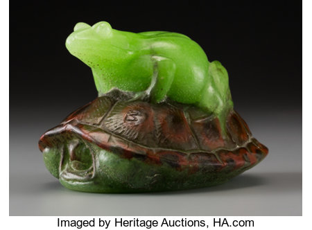 Almeric Walter Pate-de-Verre Frog and Turtle (Grenouille et Tortue) Paperweight by Henri BergéCirca 1920. Mold...