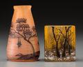 Art Glass:Daum, Two Daum Overlay Glass Miniature Landscape Cabinet Vases. IncludesWinter and Sailboat motifs.. Circa 1900. Enameled...(Total: 2 Items)