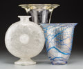 Art Glass:Other , Three Various Clear, Bubbled, and Iridescent Glass Vases.Post-1950. Acid-etched to one (Leerdam cipher). Ht. 9-5/8 in.. ...(Total: 3 Items)