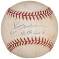 Baseball Collectibles:Balls, 2003 NLDS Game 5 Game Used Baseball Signed By Kerry Wood. . ...