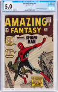 Silver Age (1956-1969):Superhero, Amazing Fantasy #15 (Marvel, 1962) CGC VG/FN 5.0 Off-white to whitepages....