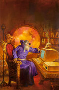 Mainstream Illustration, Doug Beekman (American, 20th Century). Darkmage, book cover,1988. Oil on paper. 29.5 x 19.5 in. (sight). Signed and dat...