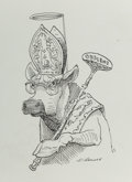Other, David Levine (American, 1926-2009). Pope Paul VI and Censorship, New York Review cartoon, 1964. Ink on paper. 6 x 4 in. ...