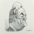 Mainstream Illustration, David Levine (American, 1926-2009). Hubert Humphrey, Esquiremagazine cartoon, 1967. Ink on paper. 5.5 x 6.625 in. (shee...