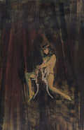 Other, Ron Lesser (American, 20th Century). Woman Straddling Chair. Mixed media on board. 21 x 13.5 in.. Signed lower right. ...