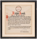 Baseball Collectibles:Publications, 1961 Ralph Houk The Sporting News Manager of the Year Certificatefrom The Ralph Houk Collection. . ...