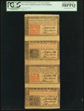 Colonial Notes:New Jersey, New Jersey March 25, 1776 Strip of Four - 3s, 12s, 18d and 12s PCGS Choice About New 58PPQ.. ...