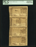 Colonial Notes:Maryland, Maryland April 10, 1774 Vertical Strip of 4 - $2, $1, $2/3 and $1/3PCGS Choice About New 55PPQ.. ...