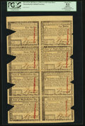 Colonial Notes:Massachusetts, Massachusetts May 5, 1780 $1-$2-$3-$4-$5-$7-$8-$20 Uncut Sheet PCGSApparent About New 53, COC.. ...
