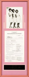 Music Memorabilia:Props, The Toys Signed Contract in a Framed Display (1965).
