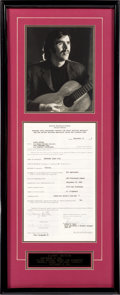 Music Memorabilia:Autographs and Signed Items, Danny Hutton Signed Contract in Framed Display (1965)....