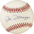 Autographs:Baseballs, Joe DiMaggio Single Signed Baseball. The beloved New York Yankeehero added his signature to the OAL (Brown) baseball seen ...