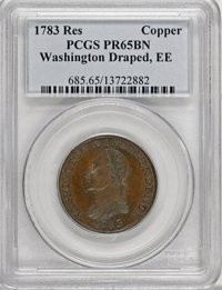 1783 1C Washington & Independence Cent, Draped Bust, Copper Restrike, Engrailed Edge PR65 Brown PCGS....(PCGS# 685)