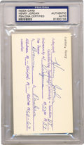 Football Collectibles:Balls, Henry Jordan Signed Index Card PSA Authentic. Having a Football Hall of Fame career with two teams in a thirteen year span, ...
