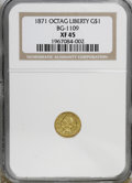 California Fractional Gold: , 1871 $1 Liberty Octagonal 1 Dollar, BG-1109, Low R.4, XF45 NGC. NGCCensus: (1/3). PCGS Population (2/83). (#10920)...