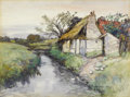 Fine Art - Painting, American:Antique  (Pre 1900), FREDERIC CHARLES VIPOND EDE (American 1865-1907). Pair ofLandscapes with Cottages, 19th century. Watercolor on paper.1...