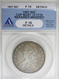 Bust Half Dollars, 1807 50C Bearded Goddess--Repaired, Whizzed--ANACS. Fine 15 Details....