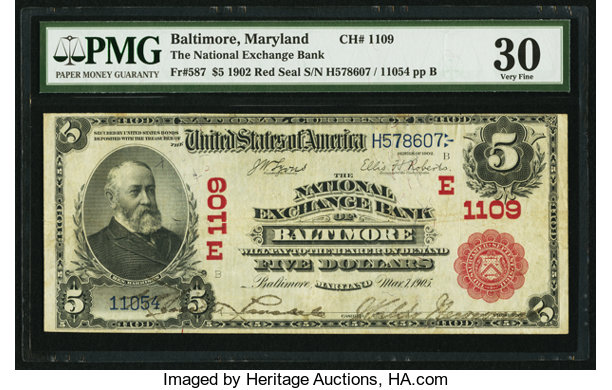 National Bank Notes Maryland Baltimore Md 5 1902 Red Seal Fr