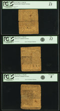 Colonial Notes:Delaware, Three Ben Franklin Colonial Notes - Delaware May 1, 1756 20s PCGSVery Good 08, Delaware May 1, 1758 15s PCGS Fine 12 & Pennsy...(Total: 3 notes)