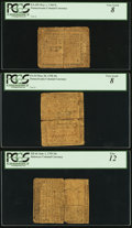 Colonial Notes:Delaware, Trio of Ben Franklin Notes - Delaware June 1, 1759 10s PCGS Fine12, Pennsylvania May 20, 1758 10s PCGS Very Good 8 &Pennsylv... (Total: 3 notes)