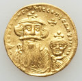 Ancients:Byzantine, Ancients: Constans II (AD 641-668) and Constantine IV (AD 654-685).AV solidus (4.46 gm). XF, graffito....