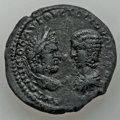 Ancients:Roman Provincial , Ancients: MOESIA INFERIOR. Marcianopolis. Caracalla and Julia Domna(AD 198-217). AE pentassarion (27mm, 12.52 gm). About XF....