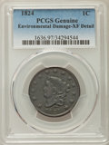 Large Cents, 1824 1C -- Environmental Damage -- PCGS Genuine. XF Details. NGC Census: (10/36). PCGS Population: (18/93). CDN: $450 Whsle...