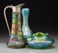 Art Glass:Other , Two Austrian Loetz-Style Iridescent Glass Vases and a Ewer. Ht.12-1/2 in. (tallest). ... (Total: 3 Items)