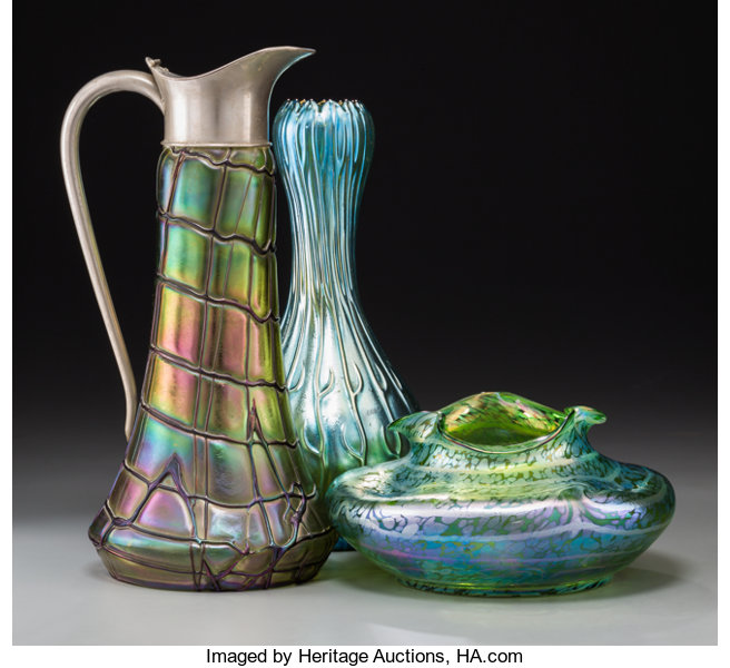 Two Austrian Loetz Style Iridescent Glass Vases And A Ewer Lot