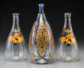 Art Glass:Other , Three Marcel Goupy Enameled Clear Glass Vases. Circa 1925. EnameledM. Goupy. Ht. 9 in. (tallest). ... (Total: 3 Items)
