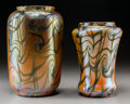 Art Glass:Other , Two Durand Iridescent Glass King Tut Vases. First quarter20th century. Larger engraved DURAND, 1968-10. Ht....(Total: 2 Items)